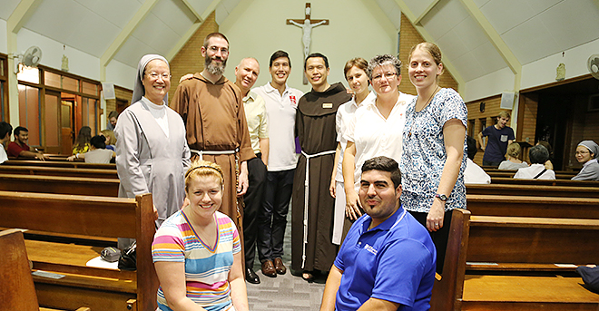 Holy calling: Sisters of St Paul de Chartres Sister Mary Joseph, Capuchin Father Thomas McFadden, Marist Brother Rod Thomson, Vocation Brisbane officer Adam Burns, Franciscan Father Harry Chan, Canossian Sister Monique Singh, Missionaries of God's Love Sister Therese Mills, Verbum Dei postulant Tamara Gilles and NET (National Evangelisation Temas) Ministries national team members Hannah Zelasney and Phil Grech.