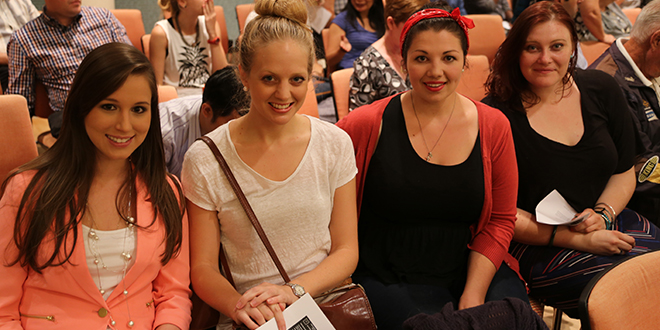 Young minds: (Above) Bernadette Tomlin, Helen Doneley, Sarah Gray and Melinda Henry at the lecture series.