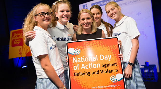 Demanding respect: Education minister Kate Jones with students from Stuartholme School, Toowong.