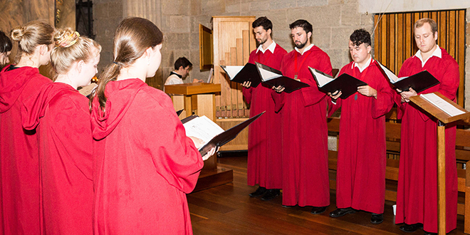 Ancient sounds: St Stephen's Cathedral Schola in St Stephen's Chapel for Vespers on February 22.