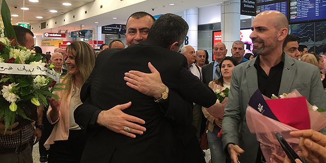 New leader: Archbishop Amel Nona receives a hearty welcome as he arrives in Sydney on March 3. Photo: Courtesy of the Chaldean Diocese of St Thomas the Apostle of Australia and New Zealand