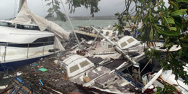 Disaster zone: Whole villages have been blown away and homes have been flattened after Cyclone Pam ripped through Vanuatu. Photo:AAP