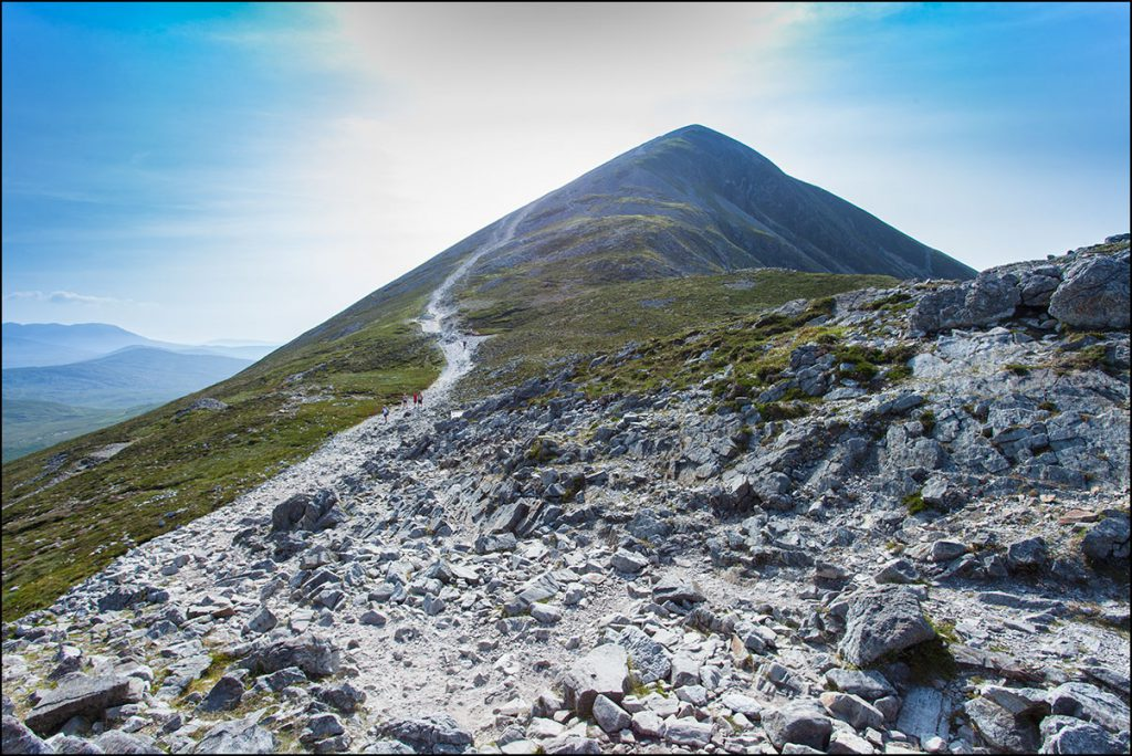 Pilgrim territory: Croagh Patrick, which overlooks Clew Bay in County Mayo, is considered the holiest mountain in Ireland.