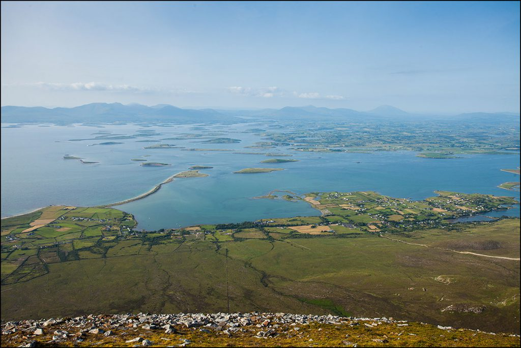 Majestic: A view from the top of Croagh Patrick overlooking Clew Bay in County Mayo.