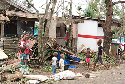Disaster zone: Whole villages have been blown away and homes have been flattened after Cyclone Pam ripped through Vanuatu. Photo: AAP