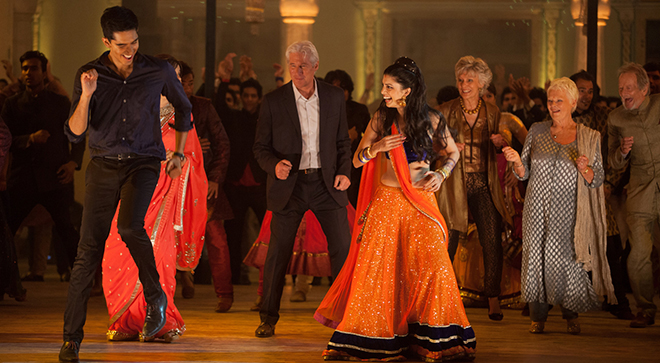 """Exotic return: Dev Patel, Richard Gere, Tina Desai, Diana Hardcastle, Judi Dench and Ronald Pickup star in a scene from the movie """"The Second Best Exotic Marigold Hotel"""". Photo: CNS/Fox"""