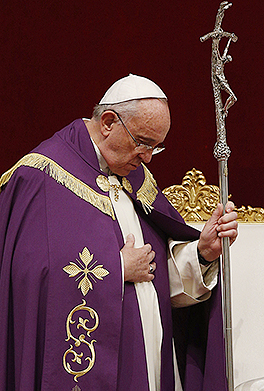 Mercy message: Pope Francis leads a Lenten penance service in St Peter's Basilica. During the service the Pope announced an extraordinary jubilee, a Holy Year of Mercy, to be celebrated from December 8, 2015, until November 20, 2016. Photos: CNS