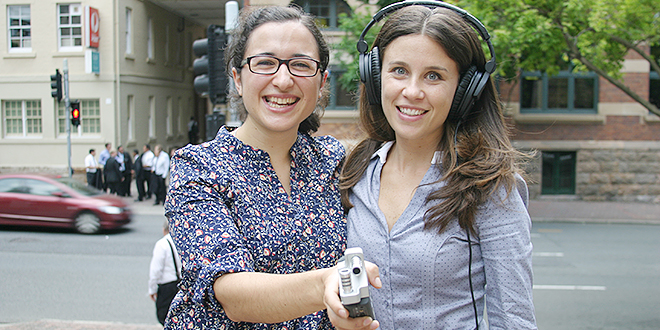 Radio hosts: Teresa Gasparin and Josefina Romanelli are still buzzing from their first online radio gig for Verbum Dei Radio. Photo: Emilie Ng