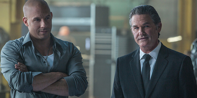 Fast paced: Vin Diesel and Kurt Russell star in a scene from the movie Fast & Furious 7. Photo: CNS