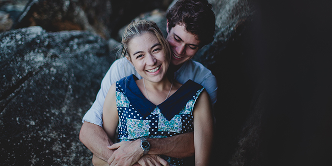 Undivided love: Natalie Barnard with husband Timothy during their engagement. Photo: Luke Going