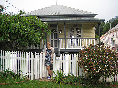 Beautiful sanctuary: Natalie Barnard in front of her cottage, which her mother Kim Robinson has made into a tribute for her daughter.