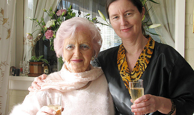 Timeless bond: Michele Gierck with her mother Jean holding a glass of brandy, an old favourite mentioned in the book.