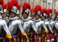 New Swiss Guards march after their swearing-in ceremony at the Vatican May 6. Photo: CNS/Paul Haring)