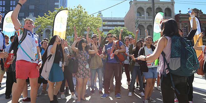 Festival talk: Young people at last year's Australian Catholic Youth Festival in Melbourne. Organisers are expecting 4000 people to attend the 2015 festival in Adelaide in December.