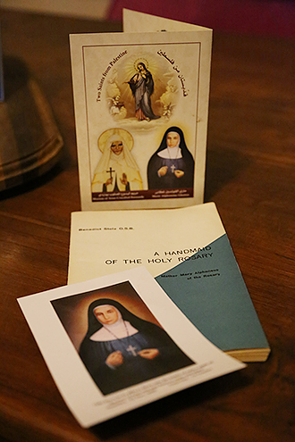 Remembering Mère Marie: A prayer card, canonisation invitation and official biography of Blessed Marie-Alphonsine.
