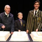 Double centenary: St Laurence's College Old Boy Robert Scott, 100, cuts the Laurie's 100th birthday cake with school captain Zane Playle and the school's youngest student Euen Lynch.