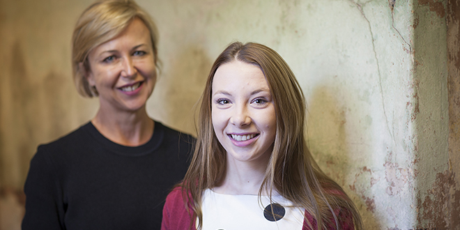 Empowered by education: Foster child and Sisters of Charity Foundation scholarship recipient Kimberley Marsh with foundation chief executive officer Reba Meagher.