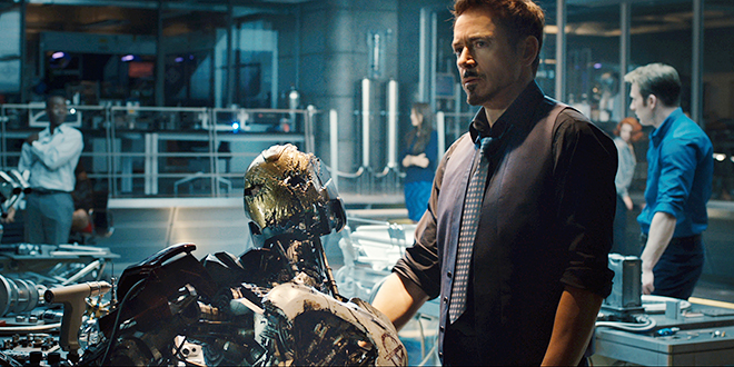 """Superhero time: Robert Downey Jr. stars in a scene from the movie """"Avengers: Age of Ultron"""". Photo: CNS/Marvel"""