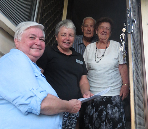 Helping hands: Rockhampton residents Len and Marie Mahon receive a welcome visit from Vincentians Theresa Langusch (front left) and Julie Ryan (second from left).