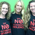 Strong support: Members of Centacare's SCOPE team (from left) Emily Middleton, Karen Marsh and Linda Russell. The women have been involved in preparing a YouTube clip against domestic violence.