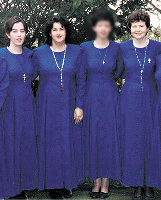 Early devotion: Debra Geileskey (second from left) with Eilish Gaffney (left) and Claire Murphy (right) in the habits of the Slaves of the Eucharist in Helidon in 1998.