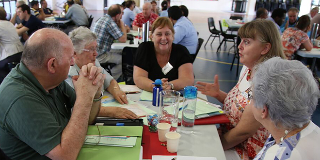 Talking mission: Representatives at Brisbane archdiocese's Annual Pastoral Council Development Day discuss their ideas for mission.