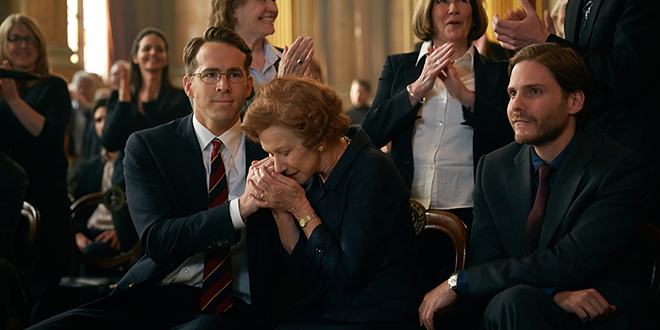 "Seeking justice: Ryan Reynolds, Helen Mirren and Daniel Bruhl star in a scene from the movie ""Woman in Gold"". Photo: CNS/Weinstein"