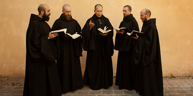 """Monk music: Benedictine monks perform chants at the Monastery of St Benedict of Norcia, Italy. The community of monks have recorded a CD of sacred music titled """"BENEDICTA: Marian Chant From Norcia"""", released on Tuesday (June 2). Photo: CNS/Christopher McLallen, courtesy Universal Music"""