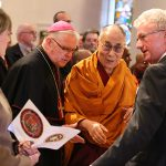 Archbishop Mark Coleridge welcomes The Dalai Lama to Brisbane's Cathedral of St Stephen