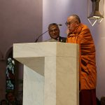 The Dalai Lama thanked the organisers of the Brisbane multifaith gathering for choosing a warm location, the opposite of what he felt visiting St Francis' birthplace in Assisi