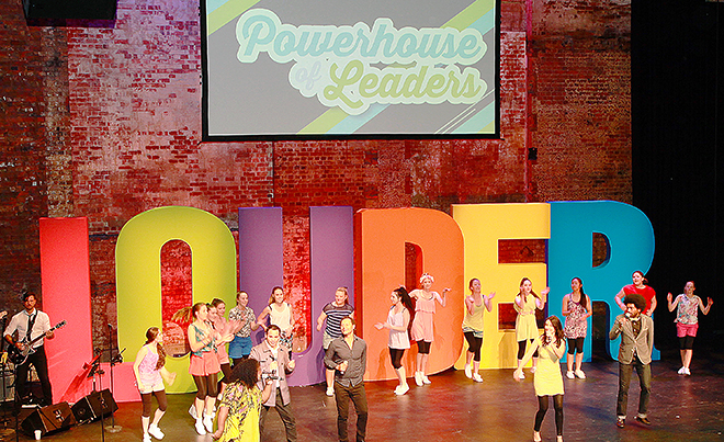 Catholic experience: Everybody got loud when the music kicked in at the annual Powerhouse of Leaders.
