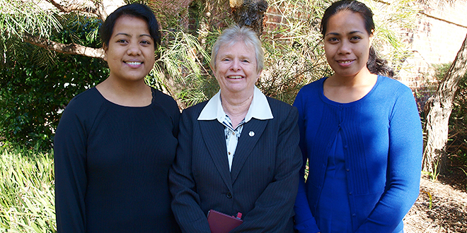 Growing order: Good Samaritan Sisters congregation leader Sr Clare Condon welcomes two novices, Sr Juniko Toaua and Sr Tuata Terawete to the order.