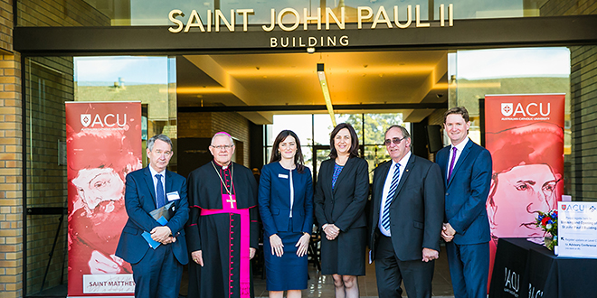 At the opening of ACU's new Saint John Paul II Building are Professor Greg Craven, Archbishop Mark Coleridge, State Member for Nudgee Leanne Linard, Premier Annastacia Palaszczuk, John Fahey and Professor Jim Nyland
