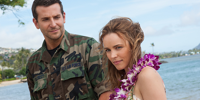 Hawaii appeal: Bradley Cooper and Rachel McAdams star in a scene from the movie Aloha. Photo: CNS/Columbia Pictures