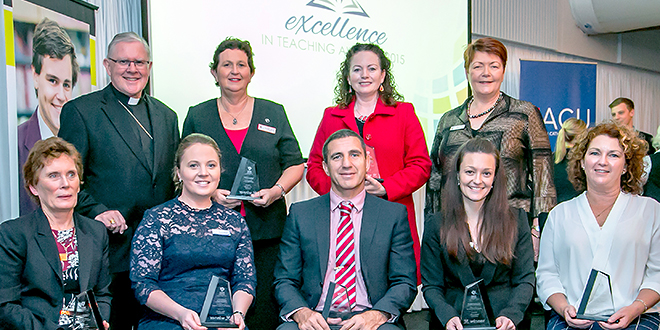Leading the way: Brisbane Archbishop Mark Coleridge and Brisbane Catholic Education executive director Pam Betts with Excellence in Teaching Award winners (standing from left) Jenelle Davis, Carol Booker, (sitting) Trish Heaps, Casey Hayes, Peter Elmore, Tegan Burr and, representing Chisholm's award-winning Observation, Feedback and Student Voice Team, Petronella Klinke.