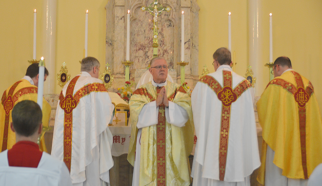 New era: Brisbane Archbishop Mark Coleridge celebrating the Mass for the Brisbane Oratory in Formation on the feast of St Philip Neri at the Church of Mary Immaculate at Annerley, Brisbane, on May 26.