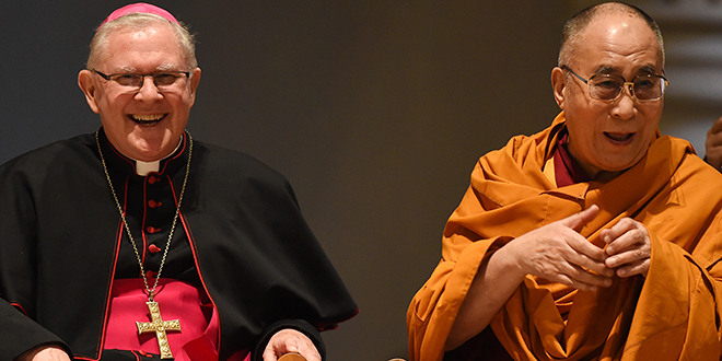 Peace plan: The Dalai Lama (right) and Brisbane Archbishop Mark Coleridge share a laugh during a Multifaith Service for World Peace on Thursday, June 11, in Brisbane's St Stephen's Cathedral. Photo: AAP