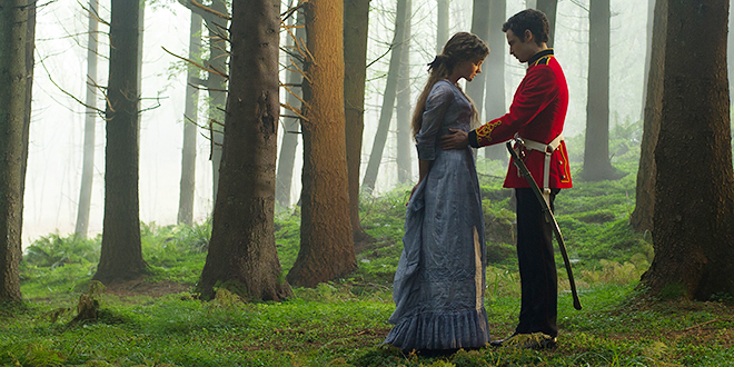 """Romantic setting: Carey Mulligan and Tom Sturridge star in a scene from the movie """"Far From the Madding Crowd"""". Photo: CNS/Fox Searchlight"""