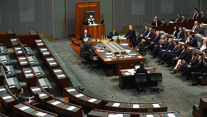 Empty house: National Liberal MP Mal Brough (left) listens as Labor Opposition Leader Bill Shorten in the House of Representatives introduces the Marriage Amendment (Marriage Equality) Bill 2015 at Parliament House in Canberra on June 1. Photo: AAP