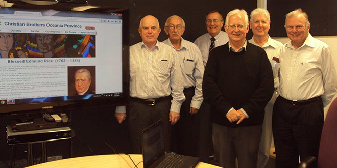 Means of mission: At the launch of the website are, from left, Br Peter Clinch, Br Ted Magee, Dr Bill Sultmann, Br Bernard Gartland, Br Bob Chambers and Br Chris Meehl.