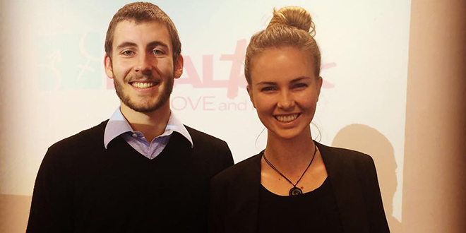 Branching out: Real Talk New Zealand presenters Thomas Saywell and Briegé Koning presenting at Aquinas College earlier this year.