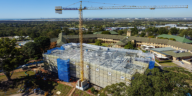 Tomkins Commercial and Industrial Builders construcion site at Australian Catholic University.