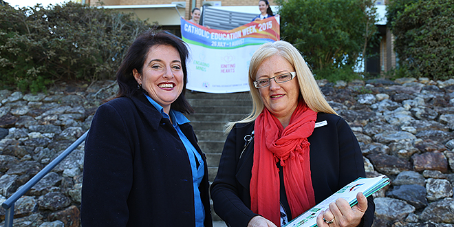 Festival countdown: Executive officer of marketing and communications for the Queensland Parents' and Friends' Federation Bernadette Kreutzer (left) and BCE senior communications and marketing manager Catherine Shipton discuss plans for the Festival of Catholic Education. Photo: Emilie Ng
