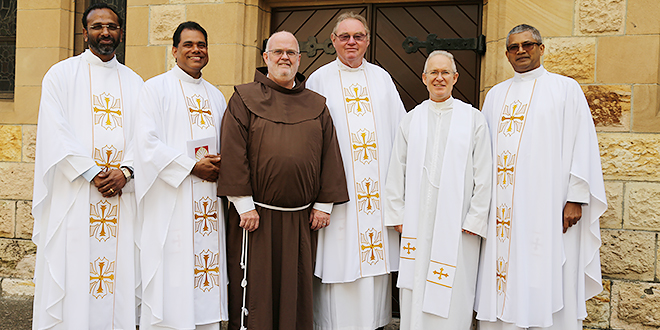 Silver line-up: Celebrating their silver jubilees are (from left) Missionary of the Blessed Sacrament Father Joseph Kanatt, Carmelite of Mary Immaculate Father Antony Vadakara, Franciscan Friar Stephen Bliss, Fr John Conway, Passionist Father David King and Salesian Father Ambrose Pereira. Photo: Emilie Ng