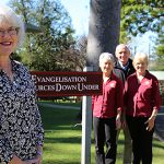 "Loving Scripture: Catherine ""Cackie"" Upchurch (left) at Evangelisation Resources Down Under's Petrie headquarters with ERDU team members Bernadette Holdsworth, John Tasker and Maureen Hines. Photo: Emilie Ng"