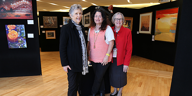 Inspiring artists: Cathedral of St Stephen Art Group members Beth Belton, Michelle Bowden and Margaret Crapnell amidst the beautiful winter exhibition at the Francis Rush Centre, Brisbane.