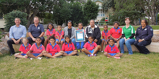Community spirit: St Joseph's Junior Police Rangers and their supporters received high praise at the 2015 Queensland Reconciliation Awards.