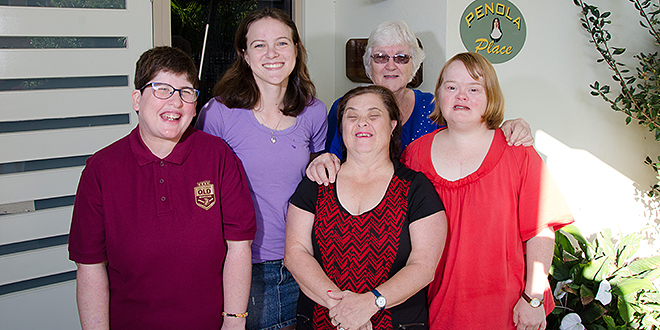 Home Sweet Home: Outside Penola Place in Townsville are (from left) Fiona, Kayla, Leanne, Lorraine Abel and her daughter Tricia. Photo: Neil  Helmore