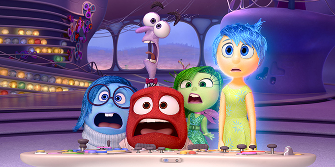 Name the feeling: In a scene from the movie Inside Out are (from left) Sadness, Fear, Anger, Disgust and Joy.