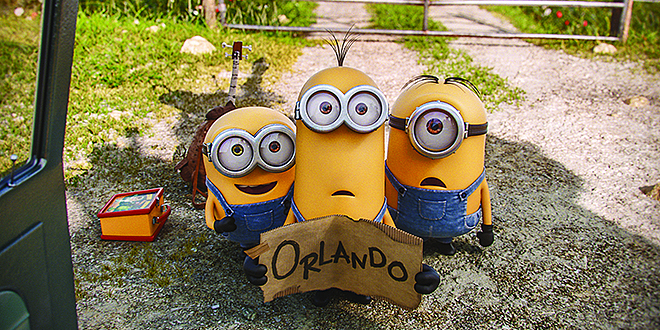 "Adventurous: Minions Bob, Kevin and Stuart in a scene from the movie ""Minions""; and (below) with Scarlett Overkill. Photo: CNS/Image.net"